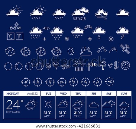 Vector illustration of white weather theme big icon set with week template on dark blue background. Weather widget. Thin line art flat weather design for widget, forecast interface,mobile application  #421666831