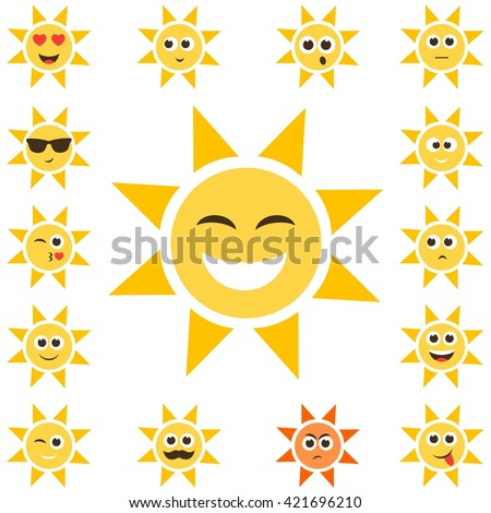 sun set with smiley faces. Raster version