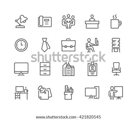 Simple Set of Office Related Vector Line Icons.  Contains such Icons as Business Meeting, Workplace, Office Building, Reception Desk and more.  Editable Stroke. 48x48 Pixel Perfect.  Royalty-Free Stock Photo #421820545