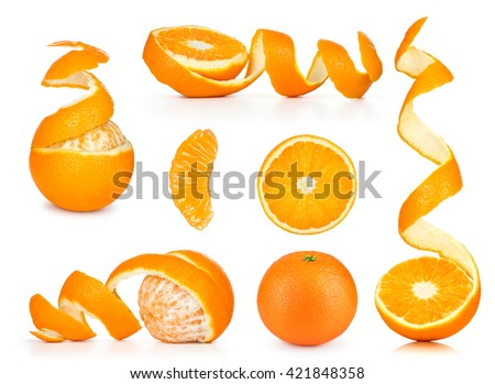 Collection of orange, slice and orange peeled skin isolated white background #421848358
