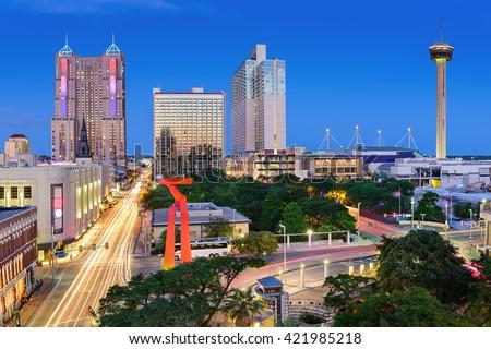 San Antonio, Texas, USA downtown skyline.
