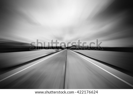 road blurred with zoom