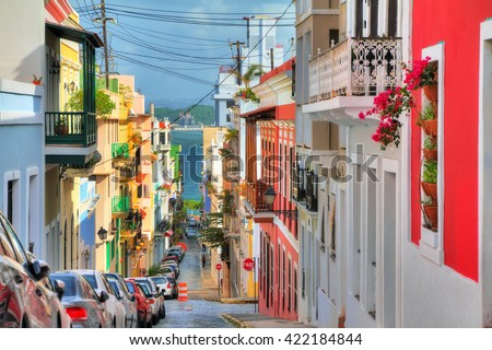 Beautiful typical traditional vibrant street in San Juan, Puerto Rico Royalty-Free Stock Photo #422184844