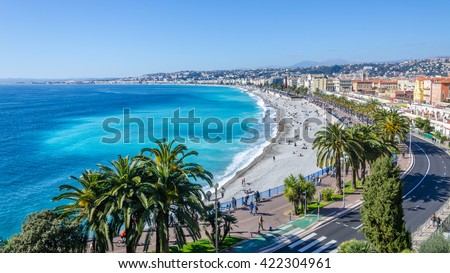 Front view of the Mediterranean sea, bay of Angels, Nice, France Royalty-Free Stock Photo #422304961