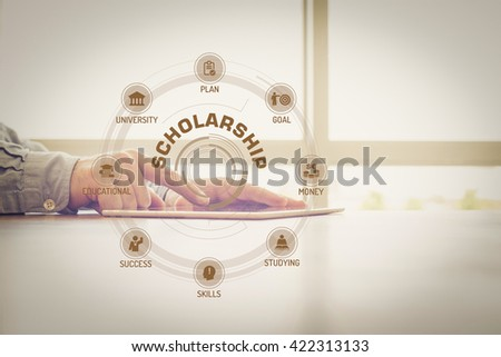 SCHOLARSHIP chart with keywords and icons on screen #422313133