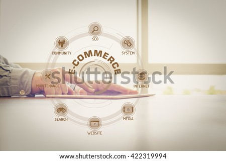 E-COMMERCE chart with keywords and icons on screen #422319994