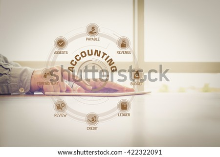 ACCOUNTING chart with keywords and icons on screen #422322091