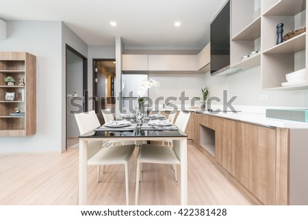 Modern gourmet kitchen interior #422381428