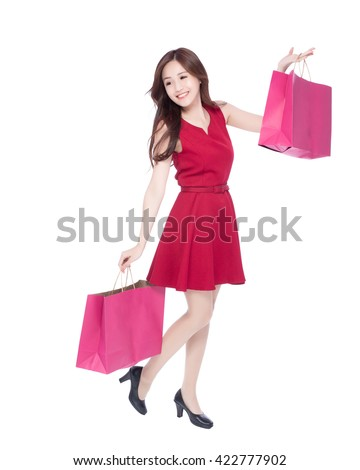 happy shopping young woman show bags - isolated on white background, full body, asian beauty #422777902