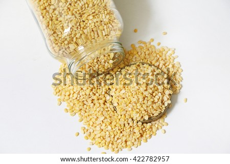 Raw Dhal in jar on white isolated background #422782957