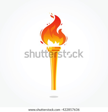 Golden Torch. Gold cup of fire. Vector illustration on light gray background. Torch icon. Big games. Torch logo. Achievement dream.