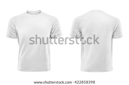 White T-shirts front and back used as design template. Royalty-Free Stock Photo #422858398
