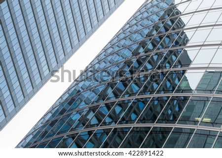 Skyscrapers with glass facade. Modern buildings in Paris business district. Concepts of economics, financial, future.  Copy space for text. Dynamic composition #422891422