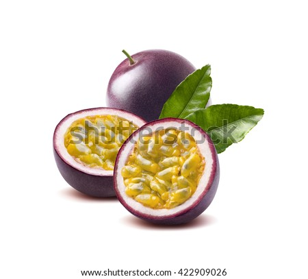 Passion fruit leaves passionfruit maraquia isolated on white background as package design element Royalty-Free Stock Photo #422909026