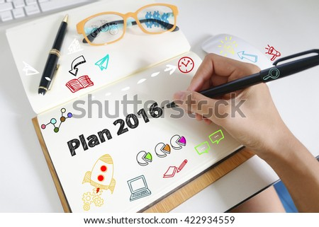 drawing icon cartoon with PLAN 2016 concept on paper in the office