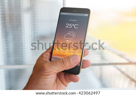 Smart phone with weather forecast on screen Royalty-Free Stock Photo #423062497