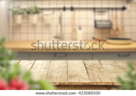 interior of kitchen and desk and leaves  #423080500