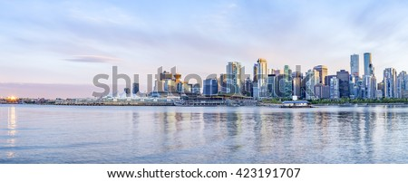Vancouver skyline at sunset - panoramic