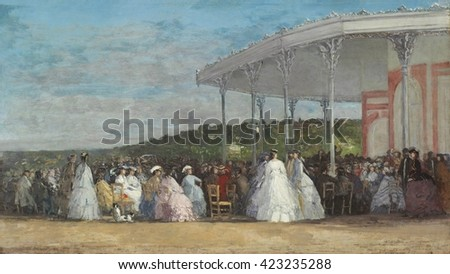 Concert at the Casino of Deauville, by Eugene Boudin, 1865, French impressionist painting, oil on canvas. The railroad from Paris to Deauville brought the tourists, and they found amusement at the hi #423235288