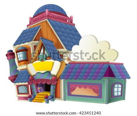 Cartoon house - store - illustration for children