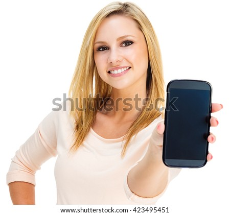 Photo of an attractive young blonde woman presenting a large smartphone; isolated on white. #423495451