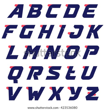 Sport alphabet run logos design template. Vector sport style typeface for sportswear, sports club, app icon, corporate identity, labels or posters. #423536080