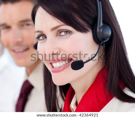 Portrait of a businesswoman with headset on smiling at the camera #42364921
