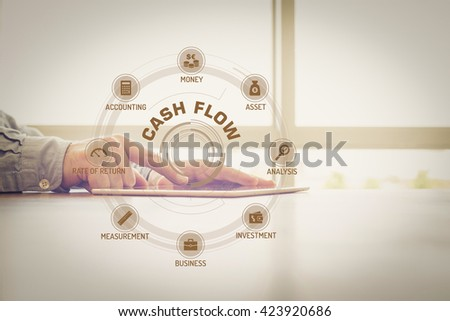 CASH FLOW chart with keywords and icons on screen #423920686