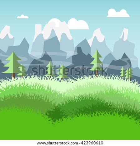 nature landscape of meadow and pine trees mountain vector #423960610