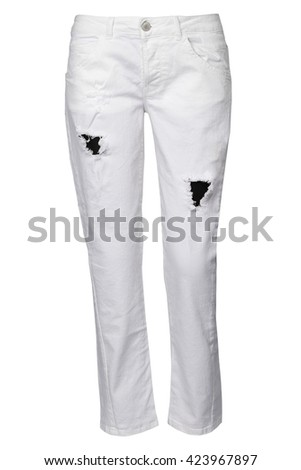 white ripped jeans #423967897