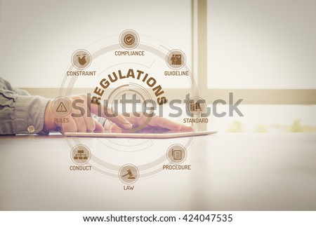 REGULATIONS chart with keywords and icons on screen #424047535