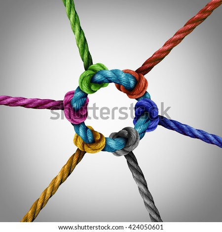 Central network connection business concept as a group of diverse ropes connected to a circle central rope as a network metaphor for connectivity and linking to a centralized support structure. #424050601