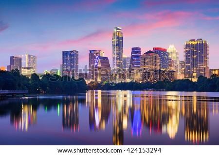 Austin, Texas, USA downtown skyline on the Colorado River.