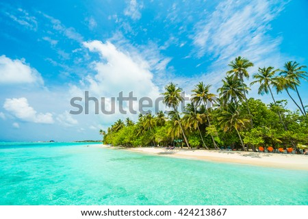 Beautiful tropical Maldives island with beach , sea , and coconut palm tree on blue sky for nature holiday vacation background concept -Boost up color Processing #424213867