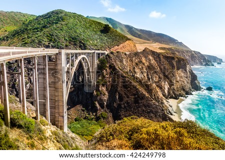 Bixby Creek Bridge on Highway #1 at the US West Coast traveling south to Los Angeles, Big Sur Area, California Royalty-Free Stock Photo #424249798