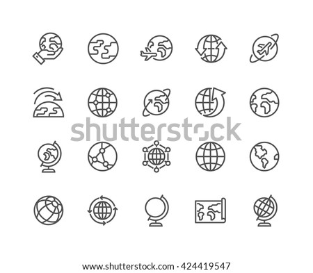 Simple Set of Globe Related Vector Line Icons. Contains such Icons as World Map, Connections, Global Business, Travel and more. Editable Stroke. 48x48 Pixel Perfect.