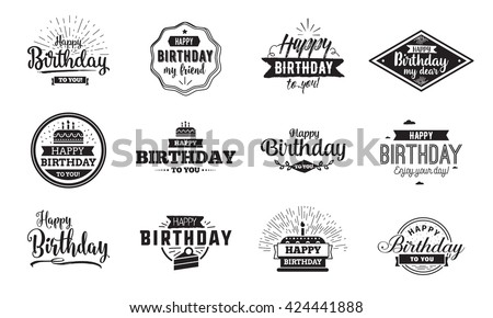 Happy Birthday typographic set. Vector design for greeting cards, print and cloths. Isolated lettering compositions. #424441888
