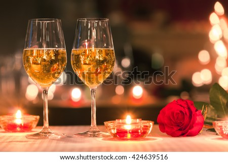 Romantic candle light dinner.  #424639516
