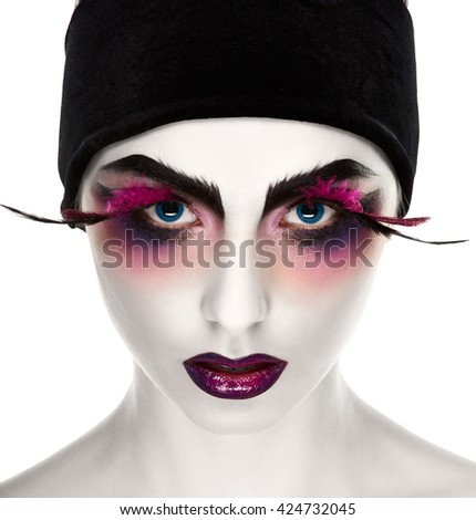 Surreal lady with white skin #424732045
