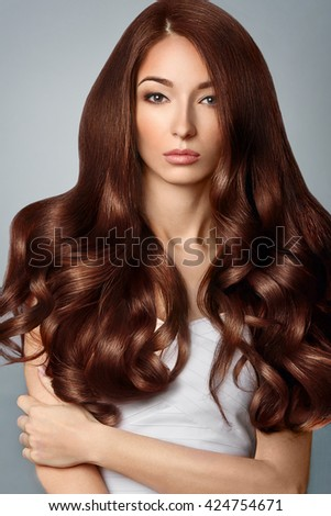 Healthy Brown Hair. Beautiful woman with Gorgeous Hair. Hairstyle. #424754671