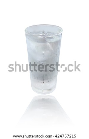 Glass of ice cold isolated on white background. #424757215