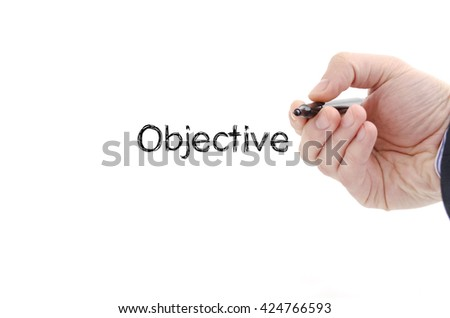 Objective text concept isolated over white background #424766593
