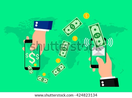 Hands holding smart phones with banking payment apps. #424823134