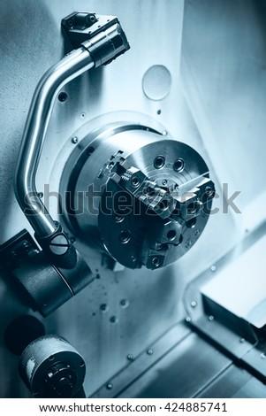 Detail of a modern CNC machine #424885741