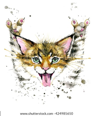 Cute cat. Watercolor illustration.