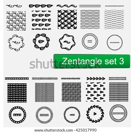 Zentangle Vector seamless patterns and brushes set , hand drawn frames Monochrome hipster prints, backgrounds with linear doodles #425017990