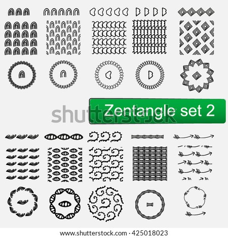 Zentangle Vector seamless patterns and brushes set 1, hand drawn frames Monochrome hipster prints, backgrounds with linear doodles #425018023