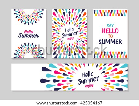 Hello summer lettering label or greeting card set designs, enjoy vacation concept with colorful decoration. Summertime party invitation or fun typography poster. EPS10 vector. Royalty-Free Stock Photo #425054167