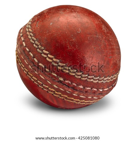 Old Cricket Ball with shadow #425081080