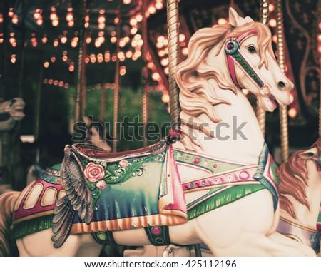 Vintage carousel horse Royalty-Free Stock Photo #425112196